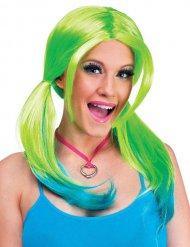 Knallige Neon Perücke für Damen grün blau