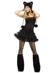 Süsses Tiger-Set mit Ohren und Stulpen Kostümzubehör schwarz-weiss