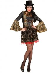 Stilvolle Gothic-Vampirin Damenkostüm schwarz-gold