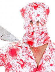Blutige Kopfbedeckung Sturmhaube Halloween weiss-rot