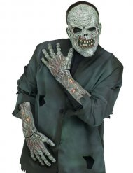 Zombie-Handschuhe Kostümzubehör Halloween grau-rot