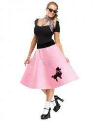 50er-Jahre Rockabilly-Rock mit Pudel rosa