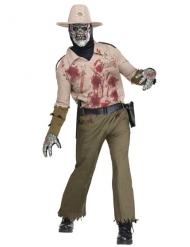 Schauriges Sheriff-Kostüm Halloween-Verkleidung Zombie beige-grün