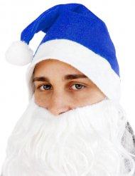Weihnachtsmann Mütze für Erwachsene blau-weiß