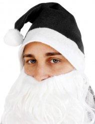 Weihnachtsmann Mütze für Erwachsene schwarz-weiß