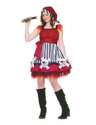 Bezaubernde Seeräuberin Piratin Damenkostüm rot-weiss-schwarz