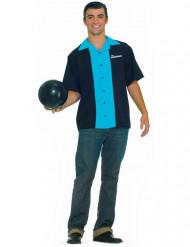 50er-Jahre Bowling-Shirt für Herren blau-schwarz