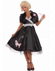 Verspieltes 50er-Jahre Rockabilly-Kleid mit Pudel schwarz-rosa