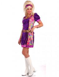 70er-Jahre Disco Damenkostüm violett-bunt