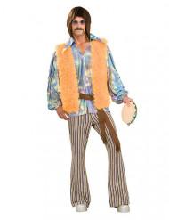60er-Jahre Hippie-Verkleidung für Herren orange-braun