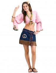 Hippie 60er-Jahre Damenkostüm rosa-blau
