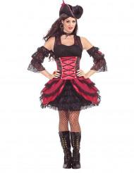 Showgirl Piratin Damenkostüm schwarz-rot