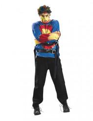Psycho-Zwangsjacke Halloween-Kostüm blau-rot