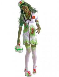 Zombie-Krankenschwester Halloween-Kostüm für Damen grün-weiss