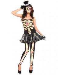 Bezauberndes Skelett-Damenkostüm schwarz-weiss