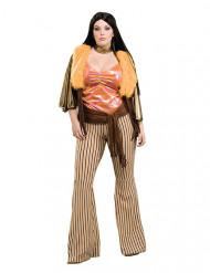60er-Jahre Hippie-Kostüm für Damen Übergröße orange-braun