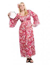 60er-70er-Jahre Hippie-Kostüm für Damen Plus size pink-weiss