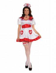 Bezaubernde-Krankenschwester Damenkostüm Übergröße weiss-rot