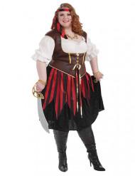 Wilde Piratenbraut Seeräuberin Damenkostüm weiss-rot-schwarz