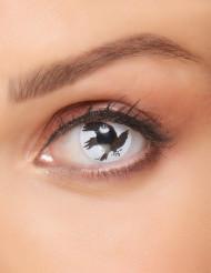 Kontaktlinsen Krähe Halloween Make-up weiss-schwarz