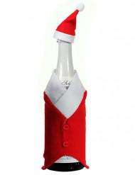 Flasche Santa Anzug Weihnachts deko rot-weiß 24cm