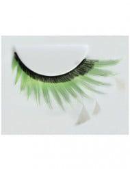 Falsche Wimpern mit Federn Frauen schwarz-grün-weiß