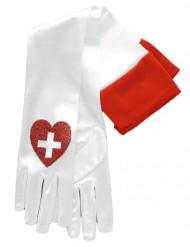 Lange Krankenschwester Handschuhe Kostümzubehör