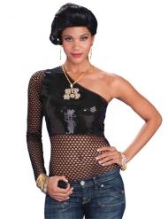 Sexy One Shoulder Netzoberteil Hip Hop für Damen schwarz