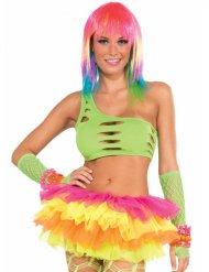 Neongrünes Bustier-Top für Damen 80er Jahre