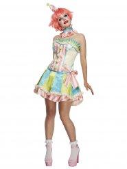 Vintage Clown-Kostüm pastellfarben Damen