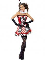 Verrücktes Clownkostüm für Damen Zirkus rot-weiss-schwarz