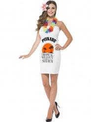 Hawaii-Kostüm für Damen weiss-schwarz