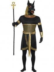 Antikes Anubis Schakal Herrenkostüm schwarz-gold