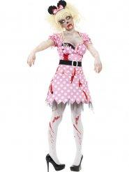 50er-Jahre Zombie-Maus Damenkostüm Halloween rosa-weiss