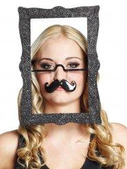 Bilderrahmen-Maske mit Brille und Schnurrbart