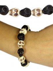 Totenschädel-Armkette Gothic-Accessoire Halloween schwarz-weiss