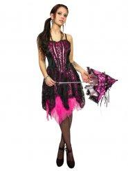 Corsagen-Kleid Gothic für Halloween schwarz-pink