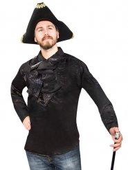 Satin-Rüschenhemd für Herren Halloween schwarz