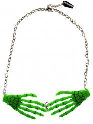 Kreepsville Skeletthand-Halskette für Halloween grün