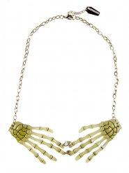 Gothic-Halskette Skeletthände Halloween-Accessoire nachtleuchtend