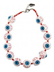 Kreepsville Halskette Gothic-Schmuck mit Augäpfel weiss-blau-rot