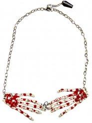 Gothic-Halskette mit Skeletthänden weiss-rot