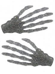 Skelett-Haarklammern Kreepsville Halloween silber-glitzer