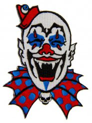 Horrorclown-Aufnäher Kreepsville Halloween blau-weiss-rot