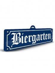Witziges Biergarten Schild blau-weiss