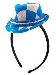 Okotberfest Haarreif mit Mini-Hut in blau-weiß
