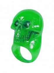 Gothic-Ring Totenkopf grün