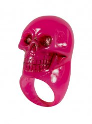 Gotischer Totenkopf-Ring für Erwachsene rosa