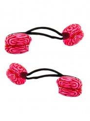 Gruselige Gehirn-Gummibänder für Damen 2 Stück rot-schwarz
