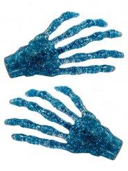 Haarklammern Skelett-Hände mit Glitzer 2 Stück blau